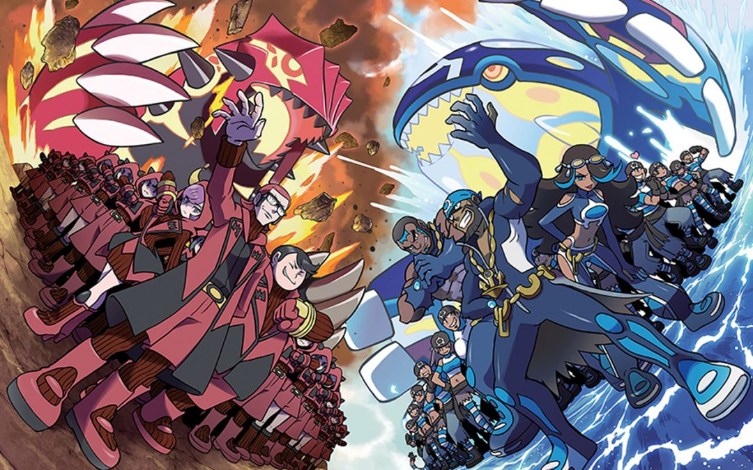 Artwork from Pokémon Omega Rubye and Soul Alpha Sapphire. Team Magma rallies on one side, Team Aqua on the other.
