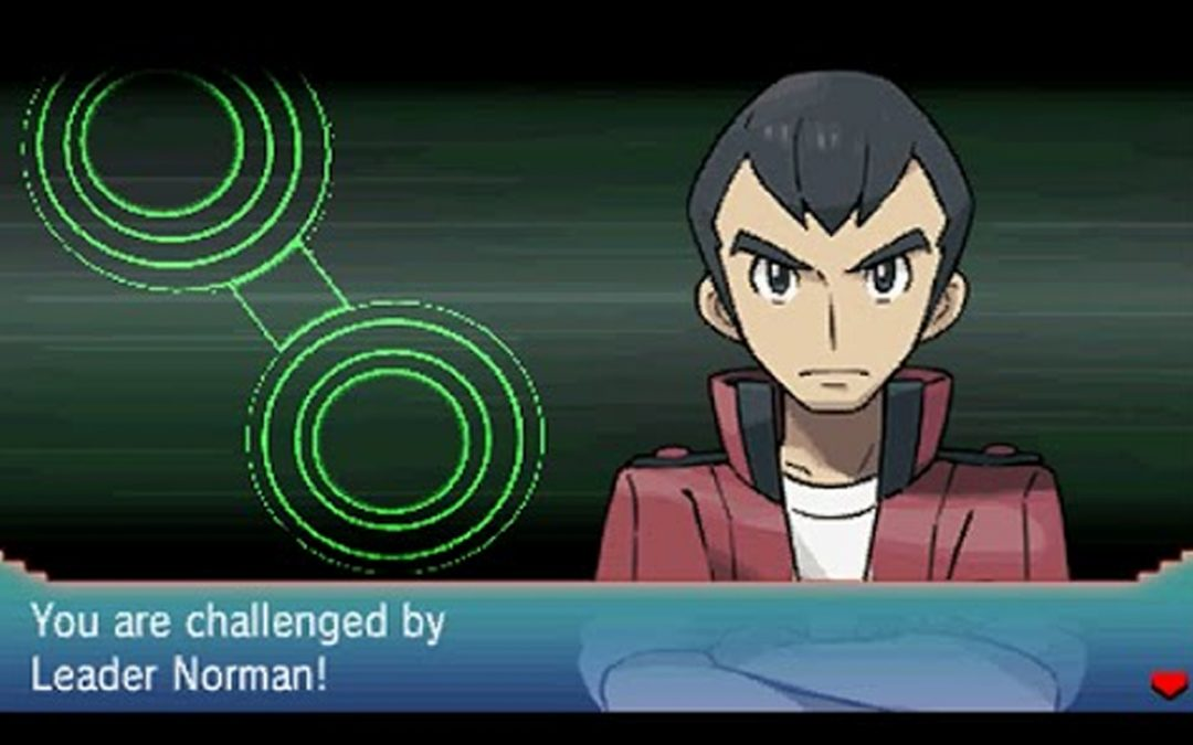 """Norman's challenge screen from Omega Ruby/Alpha Sapphire. The text reads """"You are challenged by Leader Norman!"""""""