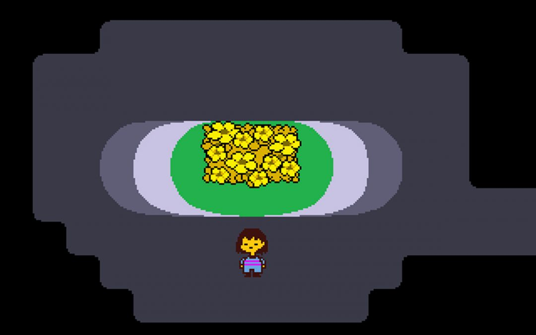 A screenshot from Undertale. The player character stands in a dark cavern with a bed of bright yellow flowers at the center. Undertale, Toby Fox, 2015