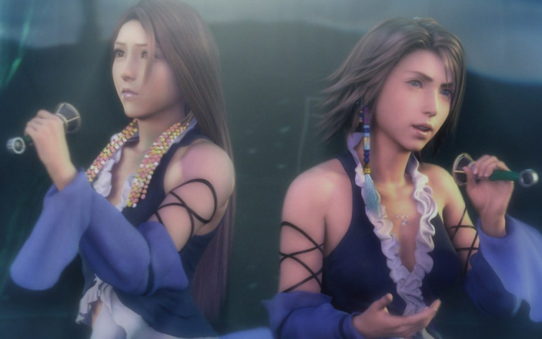 A side-by-side of Yuna and another character with longer hair, both wearing the same outfit. They're wearing a sleeveless dress with a low v neckline, lined in pastel ruffles. Purple, flowing sleeves flutter around their wrists and end just above their elbow, and a sort of string/strap situation criss-crosses up the rest of their arms. Final Fantasy X-2, Square Enix, 2003.