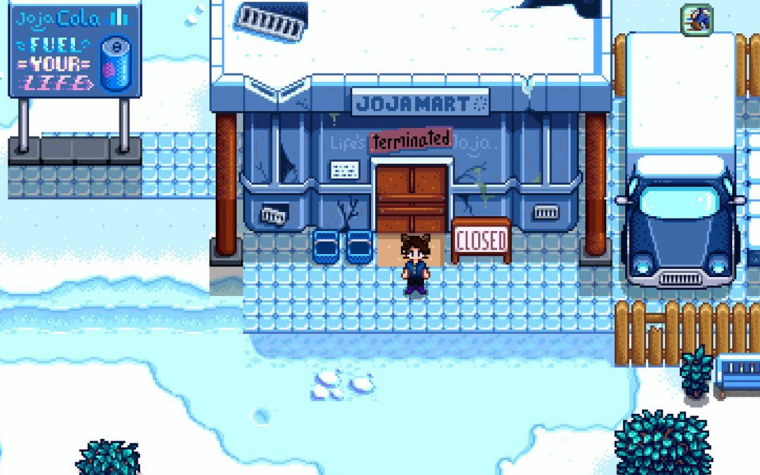 A cropped screenshot of a character standing outside the closed Joja Mart in Stardew Valley. It's winter. Image from https://community.playstarbound.com/threads/adaptive-reuse-poll-closed-joja-mart.139245