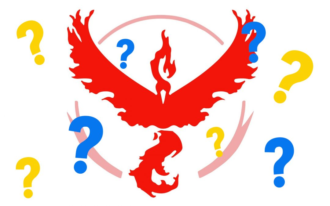 The Valor logo (the red silhouette of a Moltres) surrounded by blue and yellow question marks.