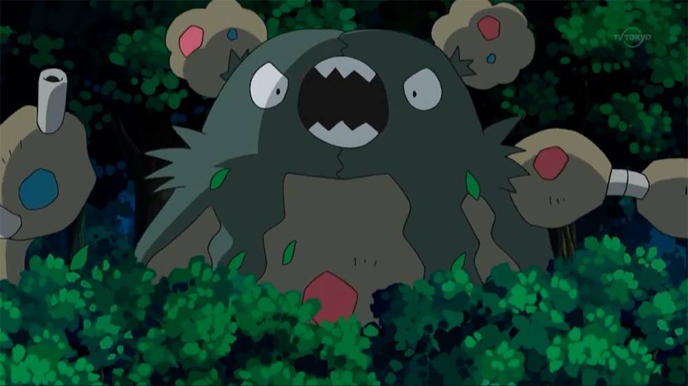 A shot of Garbodor, who is a literal heap of garbage. It looks kind of like a bag burst over its head. Pokémon Anime, 2011.