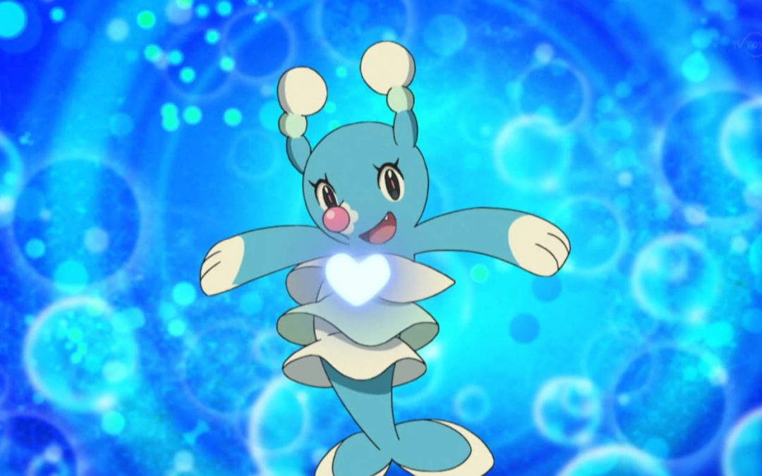 A screenshot of Brionne, a seal/manatee-esque blue water pokemon that has a bright pink nose and looks like it's wearing layered skirts.