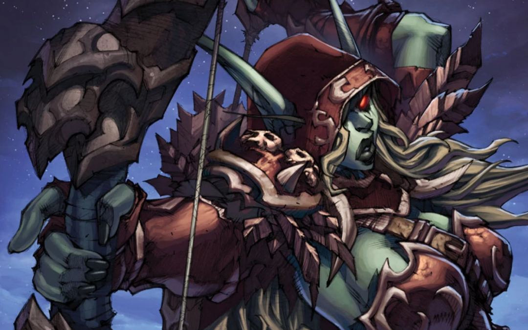 An image of Sylvanas drawing her bow.