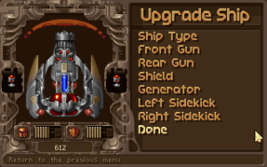 Tyrian upgrade screen. Tyrian 2000, Eclipse Software/Epic Megagames, 1999.