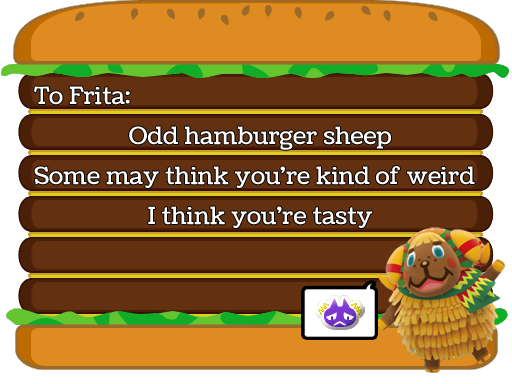 Frita haiku, by Tia Kalla,. Graphics from Animal Crossing: New Leaf, released by Nintendo, 2012.