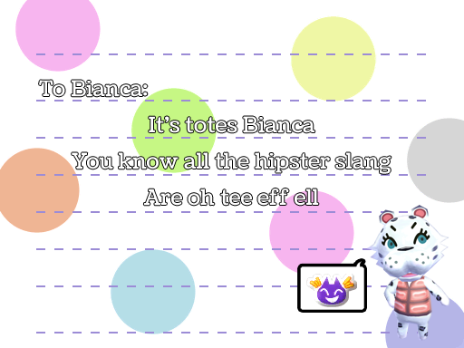 Bianca haiku, by Tia Kalla,. Graphics from Animal Crossing: New Leaf, released by Nintendo, 2012.