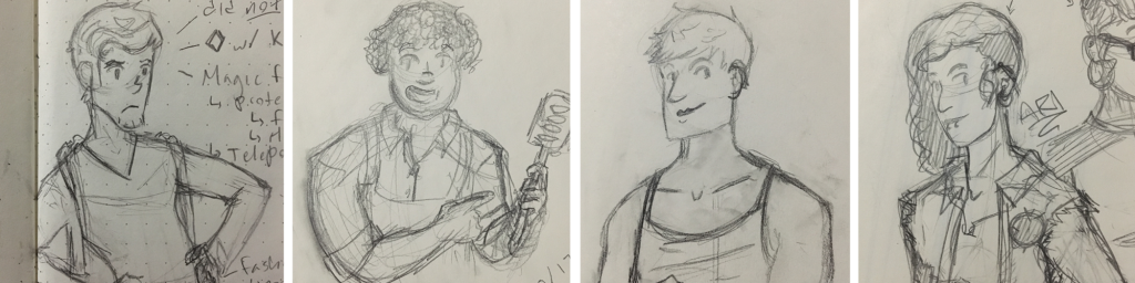 Our horrible baker children, from left to right: Matthias, Lydia, Eli, and Ari. All drawn by Zora Gilbert; created by various players.