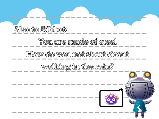Another Ribbot haiku, by Tia Kalla,. Graphics from Animal Crossing: New Leaf, released by Nintendo, 2012.