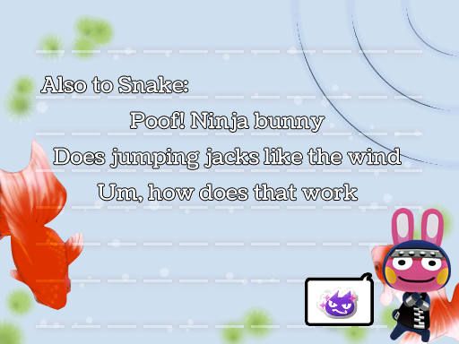 Another Snake haiku, by Tia Kalla,. Graphics from Animal Crossing: New Leaf, released by Nintendo, 2012.