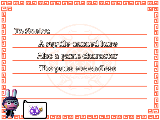 Snake haiku, by Tia Kalla,. Graphics from Animal Crossing: New Leaf, released by Nintendo, 2012.