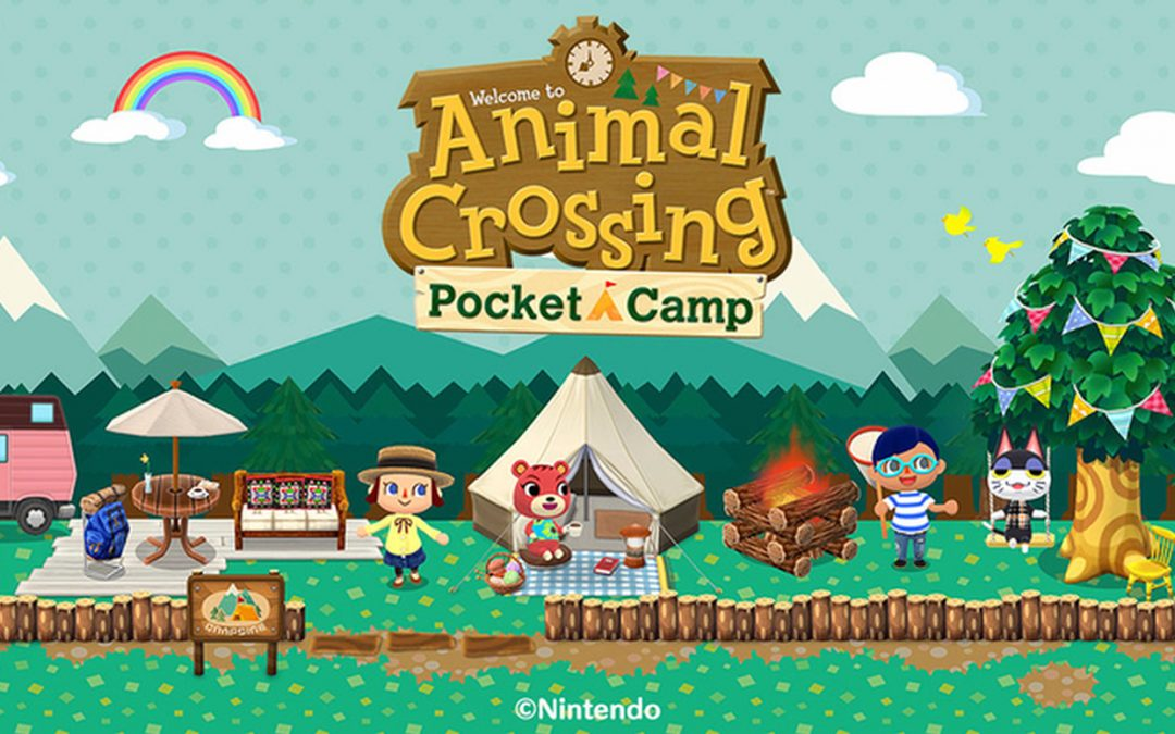 A banner for Animal Crossing Pocket Camp. Various player character designs stand around near tents, couches, and small fires. The backgrounds are simple and patterned, and the characters look like they're having a great time.