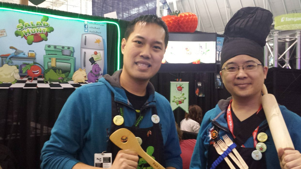 Salad Hunt game developers, Telly Lee & Sunny Lee. Photo by Brenda Noiseux.