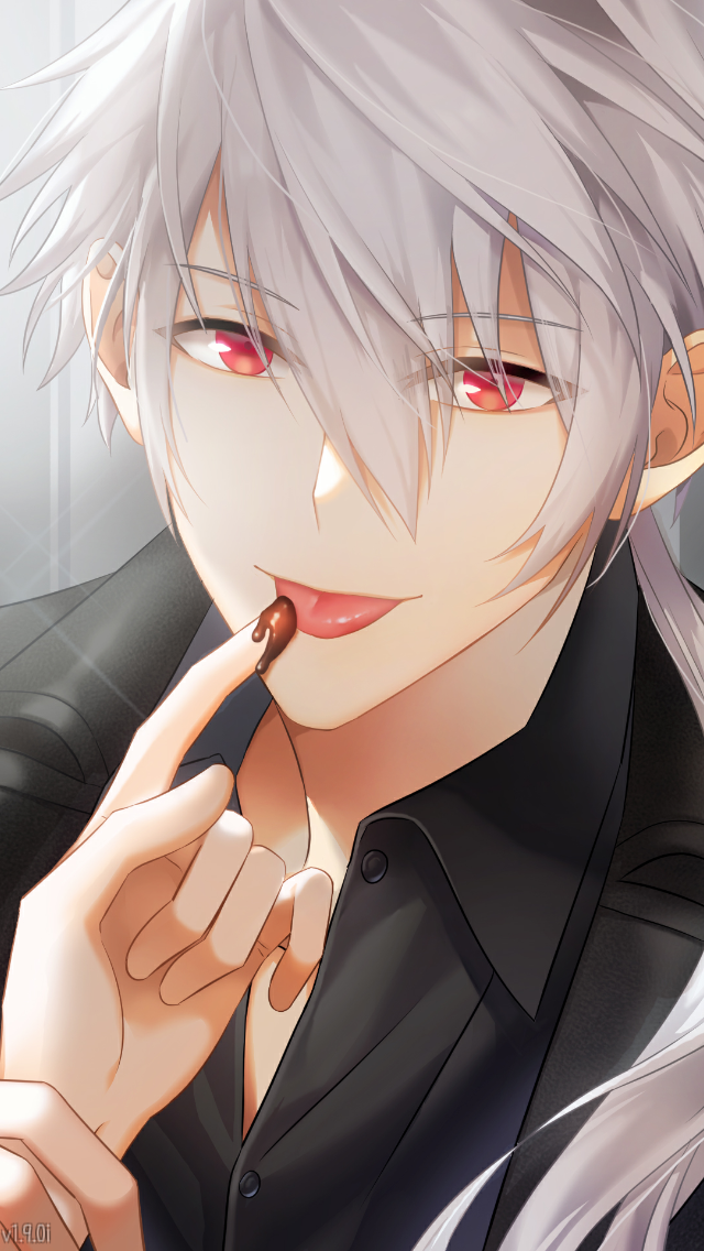 An image of a white-haired, red-eyed anime boy licking chocolate off the POV character's finger. Mystic Messenger, Cheritz, 2015