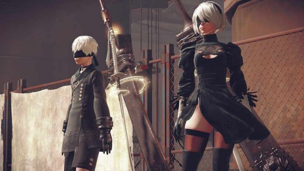 A screenshot of 2B and 9S standing side by side. NieR: Automata, Platinum Games, Square Enix, 2017