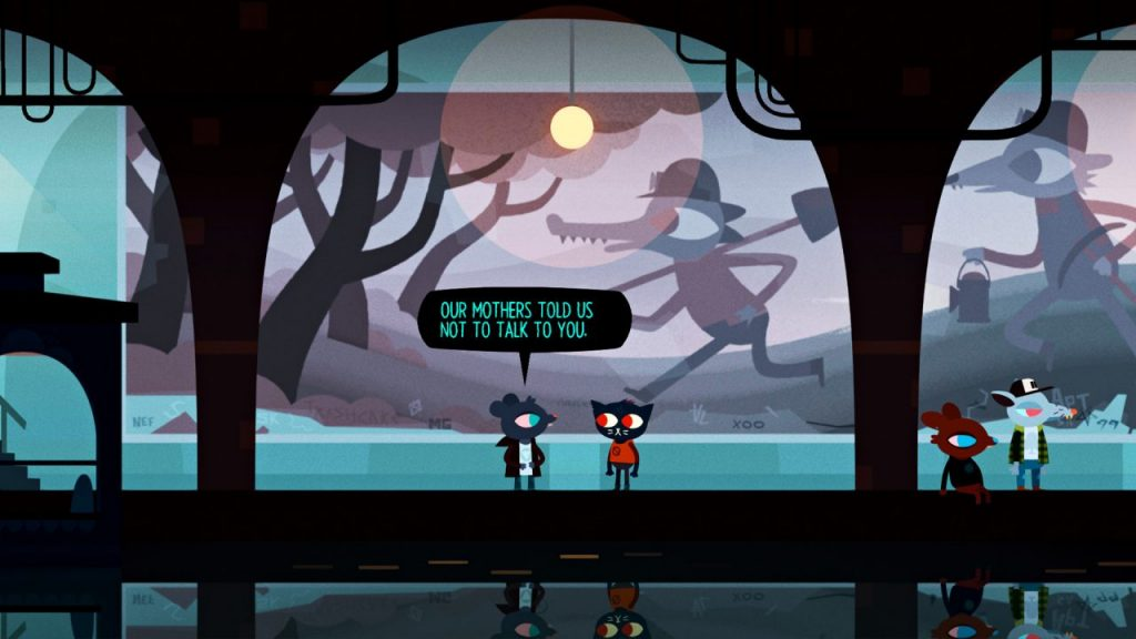 "A screenshot of Night in the Woods. Mae stands beneath the mural in the subway tunnel with one of the teens, who say, ""Our mothers told us not to talk to you."""