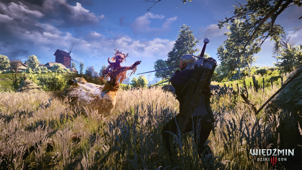 A screenshot showing Geralt facing off against an enemy in The Witcher 3.