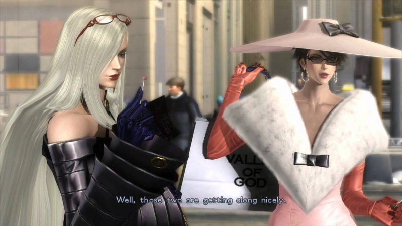 "Jeanne and Bayonetta stand on a city street. The subtitle reads, ""Well, those two are getting along nicely."" Bayonetta, PlatinumGames, Nintendo, 2014"