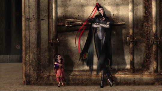 Bayonetta leans against a wall, ankles crossed. Cereza is next to her, imitating her pose. Bayonetta, PlatinumGames, Nintendo, 2014