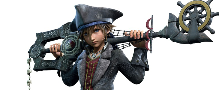 Sora's Caribbean design from Kingdom Hearts III, complete with nautical-themed keyblade. Kingdom Hearts III, Square Enix, 2018, Editing by Sammantha Sanchez