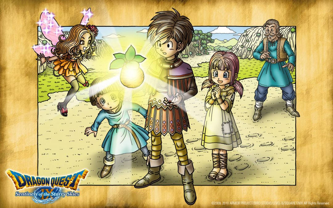 Official art for Dragon Quest 9 featuring the main character, some NPCs, and a fygg.