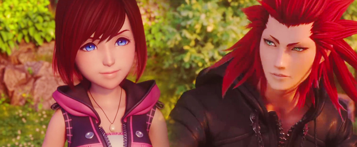 A bust shot of Kairi and Axel. Kairi's hair is shoulder length and she's in her Kingdom Hearts III outfit. Axel no longer has his face tattoos, and his eyes are light green. Kingdom Hearts III, Square Enix, 2018, Editing by Sammantha Sanchez