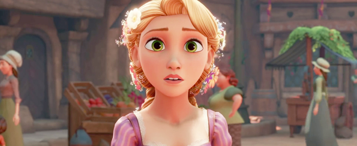 A bust shot of Rapunzel, taken from a frame of Kingdom Hearts III. The rendering is on par with the movie. Kingdom Hearts III, Square Enix, 2018, Editing by Sammantha Sanchez