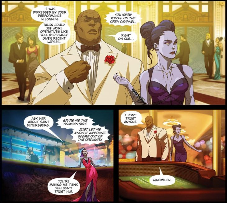 Doomfist begins to try to recruit Widowmaker to Talon. Sombra interrupts. Overwatch #13: Masquerade. Blizzard Entertainment, 2017. Michael Chu (writer) Ryan Benjamin and Anthony Washington (artists), Comicraft (letterer). https://comic.playoverwatch.com/en-us/doomfist-masquerade