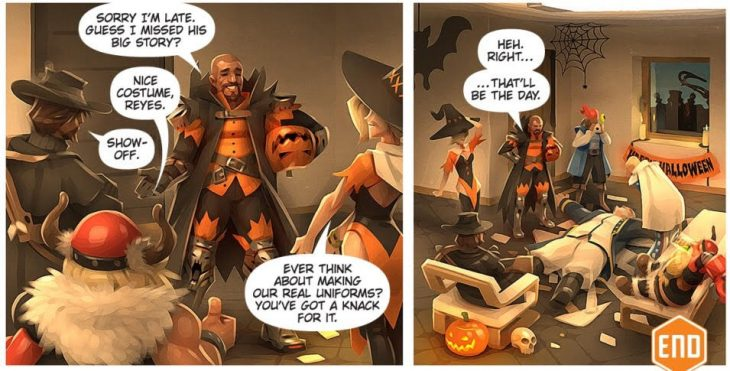 In a flashback, Gabe and the rest of the Overwatch team joke around about his costume. There are halloween decorations everywhere. Overwatch #9: Junkenstein. Blizzard Entertainment, 2016. Michael Chu and Matt Burns (writers), Gray Shuko (artist), Richard Starkings and Comicraft (letterers). https://comic.playoverwatch.com/en-us/junkrat-junkenstein
