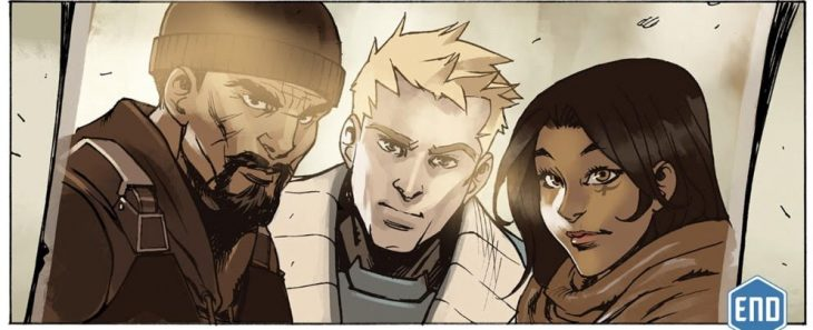 A portrait of Gabriel, Jack, and Ana from the Overwatch days. Overwatch #12: Uprising. Blizzard Entertainment, 2017. Michael Chu (writer), Gray Shuko (artist), Comicraft (letterer). http://comic.playoverwatch.com/en-us/tracer-uprising
