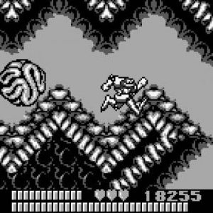 A screenshot of the gameboy Battletoads. The player character dashes down a jagged tunnel, chased by a brain ball. Battletoads, Rare, 1991