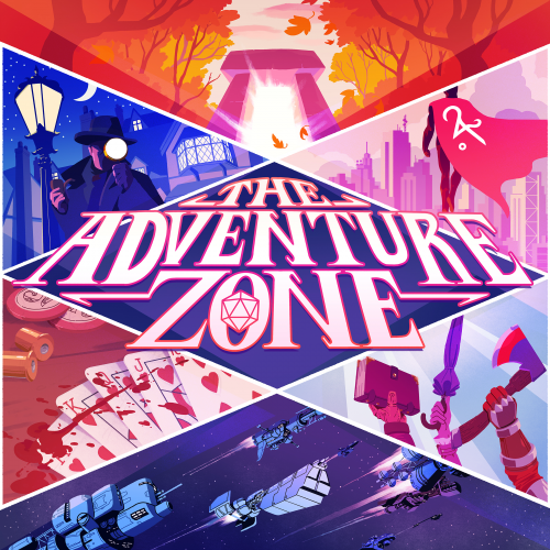 Podcast artwork for The Adventure Zone. The title card is carved up into 7 sections by diagonal lines. Six sections have a shot from different stories the podcast has explored; the center section contains the title lettering, which isn't quite contained by the borders of the section. Artwork by Evan Palmer.