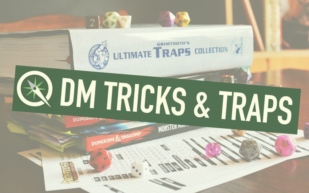 "A photo of various tabletop RPG items, such as books, dice, and a character sheet. On top, there is a Sidequest logo and the words ""DM Tricks & Traps."""