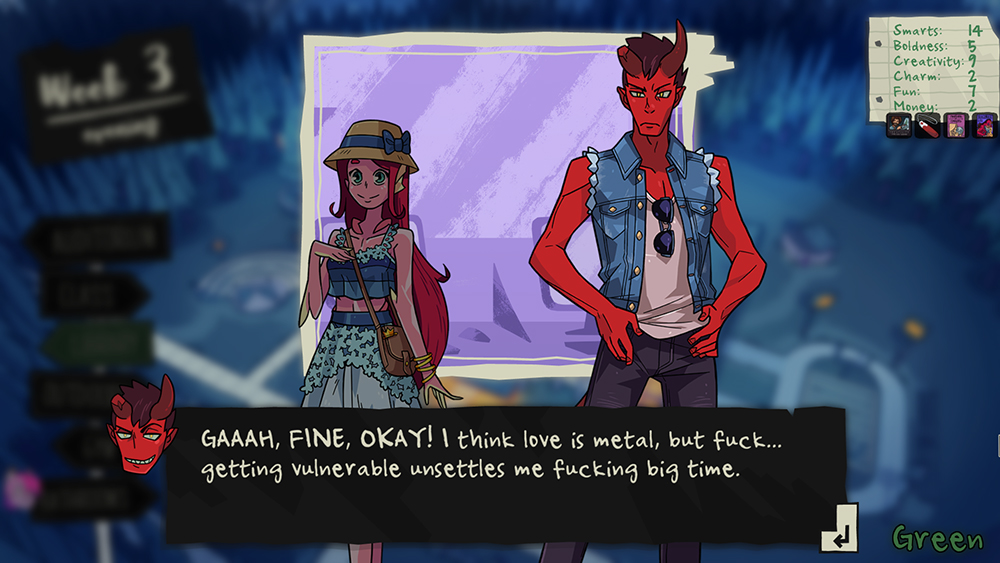 """A screenshot of Damien saying, """"GAAAH, FINE, OKAY! I think love is metal, but fuck...getting vulnerable unsettles me fucking big time."""" Monster Prom, Beautiful Glitch, Those Awesome Guys, 2018."""