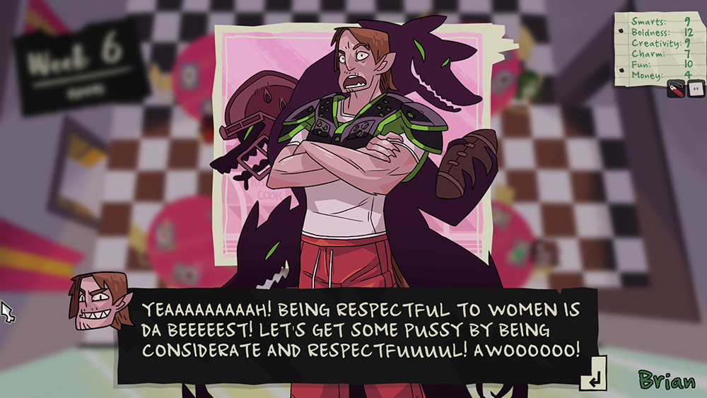 "A screenshot of a member of the wolf pack saying, ""YEAH! BEING RESPECTFUL TO WOMEN IS DA BEST! LET'S GET SOME PUSSY BY BEING CONSIDERATE AND RESPECTFUL! AWOO!"" Monster Prom, Beautiful Glitch, Those Awesome Guys, 2018."