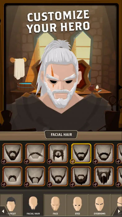 "A screenshot featuring text ""Customize your Hero"" with an array of facial hair options. The screenshot does not indicate there are any non-masculine options. Questland: Turn Based RPG, Gamesture sp. z o.o., 2018."