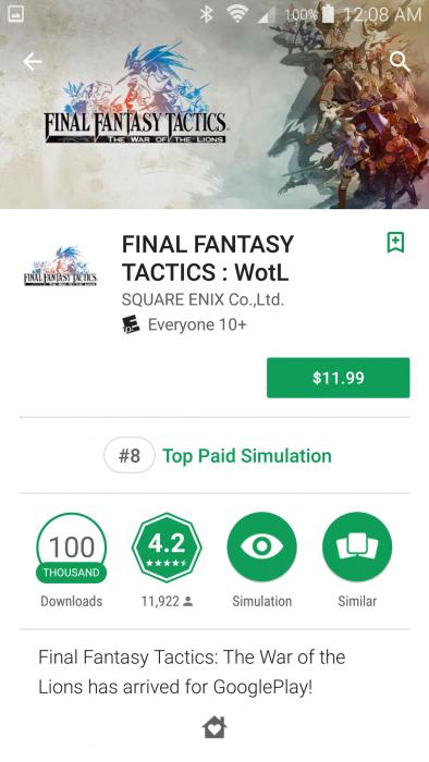 Description screen for mobile port of Final Fantasy Tactics: The War of the Lions, $11.99. Final Fantasy Tactics, Hi Corporation, Square Enix Co. Ltd., 2011.