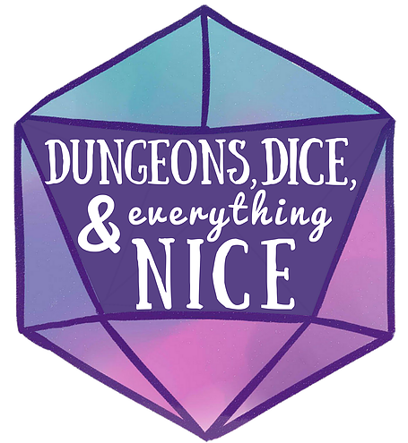 Logo for Dungeons, Dice, and Everything Nice. The podcast title is written in stylized font across three combined faces of a d20. The text is white; the d20 is teal, purple, and pink.