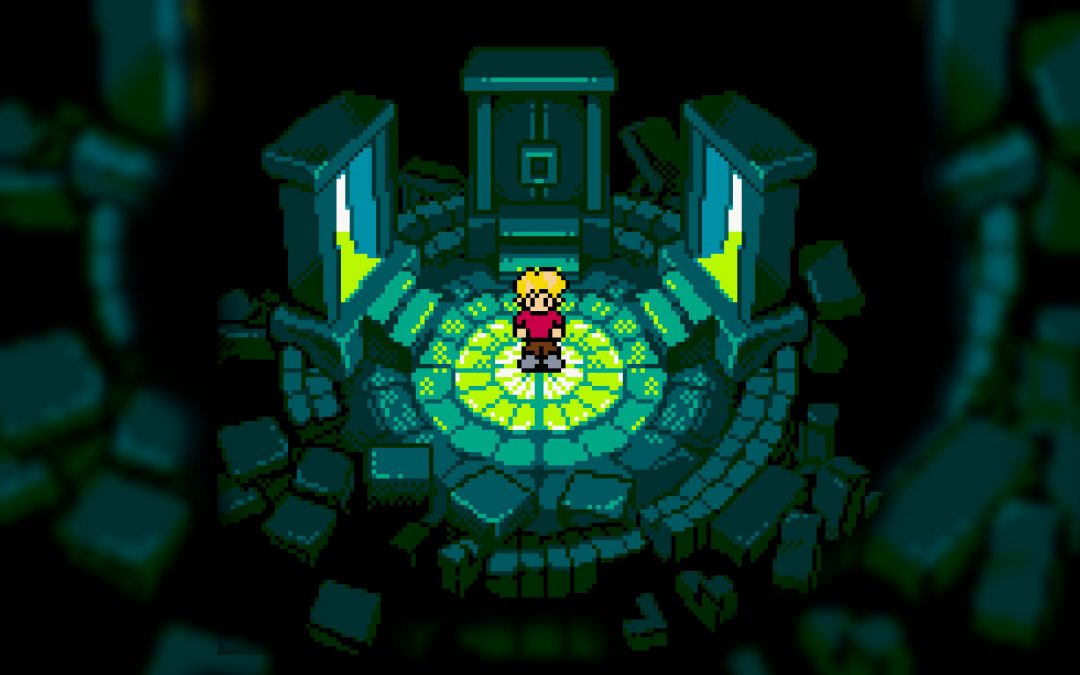 An image of a boy standing in a stone-paved area, with an open door on either side shining in light. Screenshots from Magi-Nation, Interactive Imagination, Epoch Co., 2001.