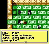 "A screenshot showing an NPC telling the player character ""Oh, no! The monsters are attacking people!"" Revelations: The Demon Slayer, Multimedia Intelligence Transfer, Atlus, 1992."