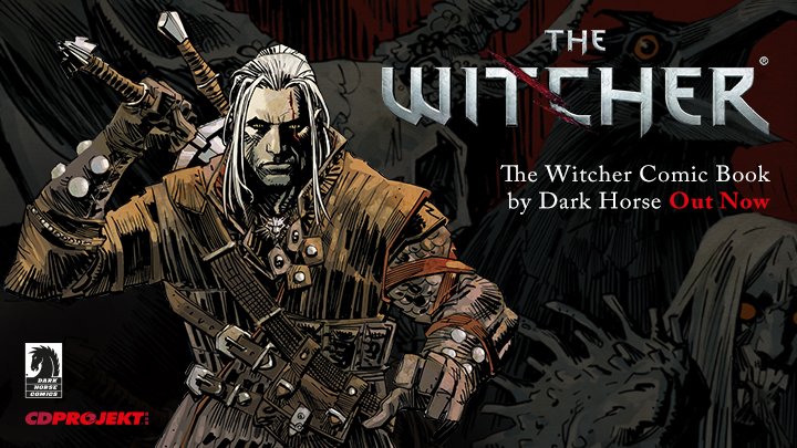 Image of Geralt, a grizzled man with long hair wearing dark clothing, reaching for his sword. The Witcher Volume 1: House of Glass  Carlos Badilla (colorist), Joe Querio (artist), Paul Tobin (writer) CD Projekt Red and Dark Horse Comics, September 23, 2014