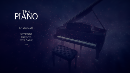 The title card of The Piano. The screen is mostly dark, with a single grand piano foggily lit to the right of the title and options. The Piano, Mistaken Visions, 2018
