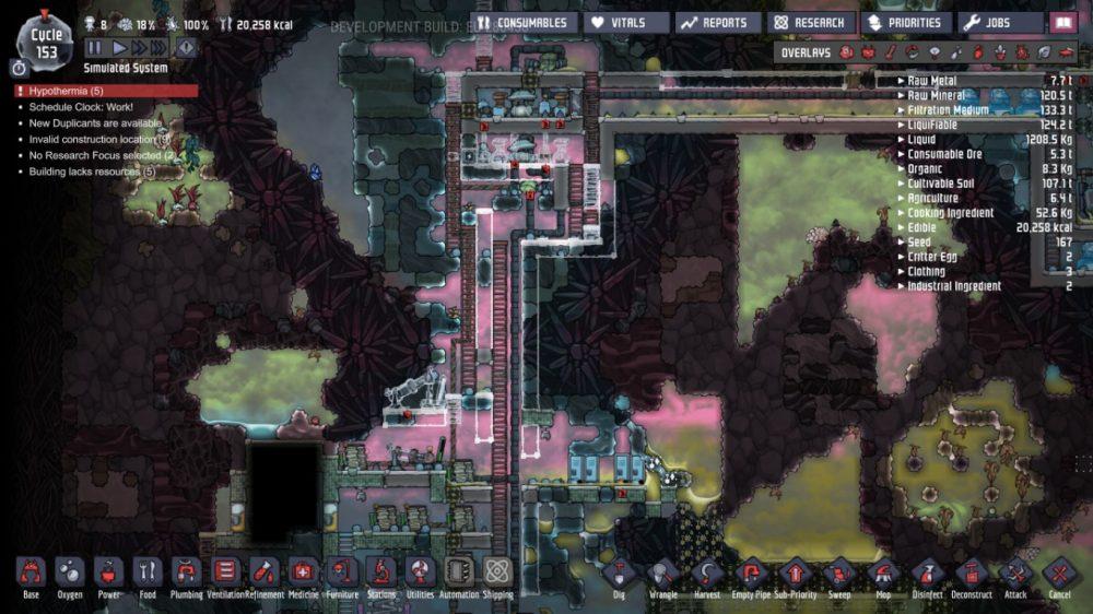 A screenshot showing Joesph's oxygen farm. Oxygen Not Included, Klei Entertainment, 2017.
