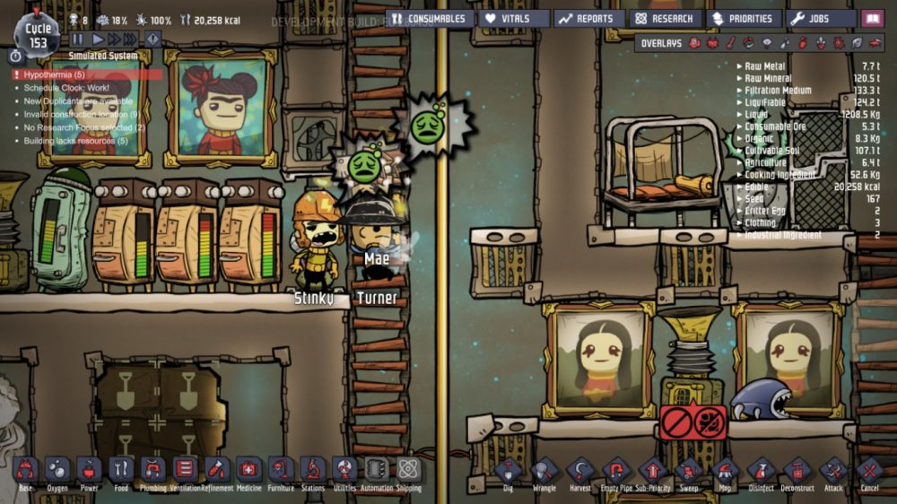 A screenshot showing Joesph's hypothermic duplicants. Oxygen Not Included, Klei Entertainment, 2017.