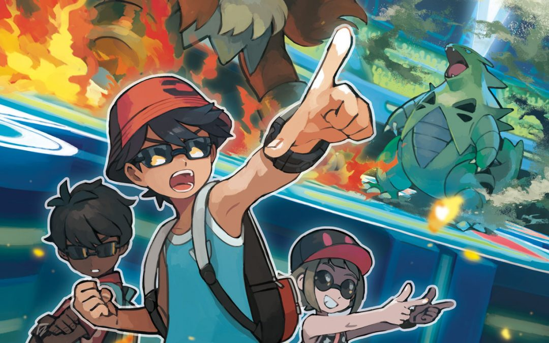 An image of three young Trainers posing dramatically while a battle between an Entei and Tyrantir plays in the background.