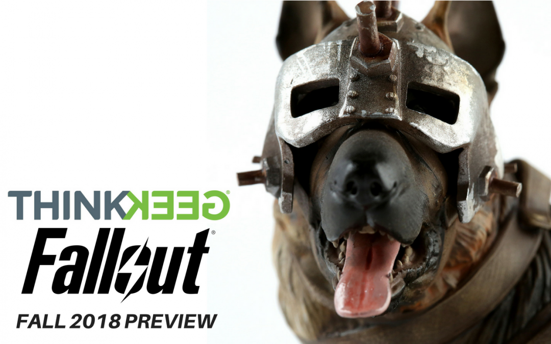"An image of the Dogmeat statue with the words ""THINKGEEK Fallout Fall 2018 Preview."" Images from THINKGEEK.com, fallout4.com"