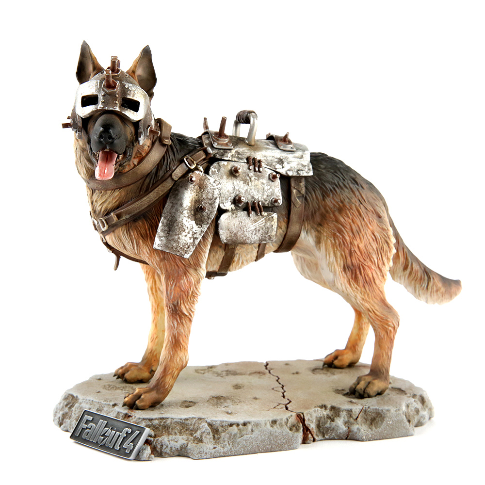 The Fallout 4 Dogmeat statue, with his armored head on. He's a good pup, panting happily. Image from https://www.thinkgeek.com/product/ktgj/