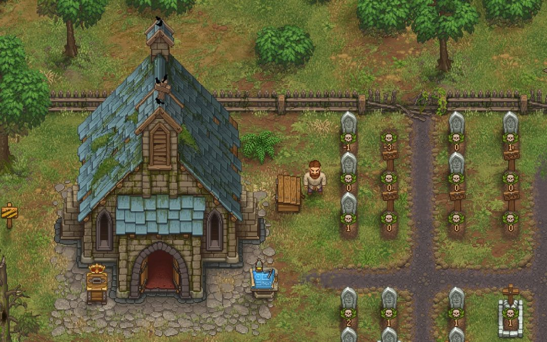 A church in Graveyard Keeper sits to the right of a graveyard. The church is broken down, with the cross on the roof tilted and askew; the graves have small values on them ranging from -3 to 2. Graveyard Keeper Alpha, Lazy Bear Games, 2018