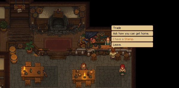"""A screenshot from Graveyard Keeper, wherein the player character stands in front of the barkeep in a tavern. The player's options are: """"Trade,"""" """"Ask how you can get home,"""" """"I have a Stamp"""" (grayed out), and """"Leave."""" Graveyard Keeper Alpha, Lazy Bear Games, tinyBuild, 2018"""